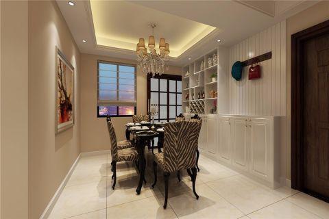餐厅白色博古架简欧风格效果图