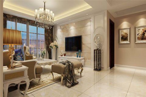 客厅咖啡色窗帘简欧风格装修效果图