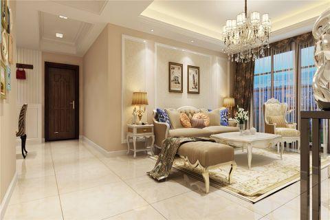 客厅米色背景墙简欧风格装饰效果图