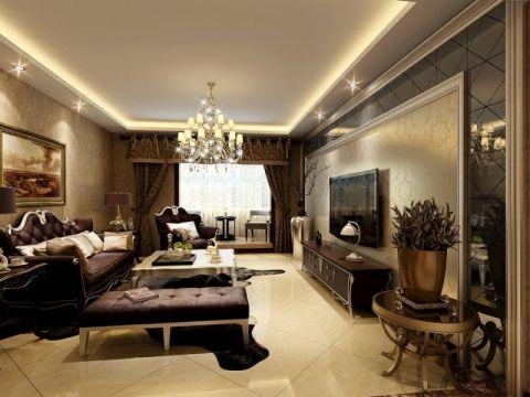 客厅黄色背景墙欧式风格装饰设计图片