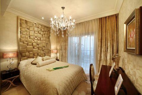卧室黄色窗帘欧式风格效果图