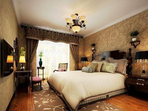 卧室咖啡色窗帘欧式风格装修效果图