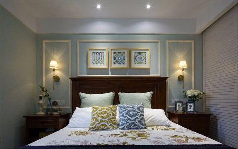 卧室绿色背景墙美式风格装修效果图