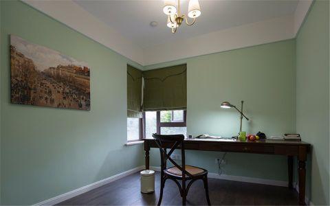 书房绿色背景墙美式风格装修图片