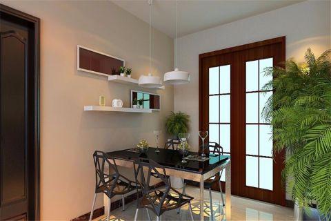 餐厅白色背景墙现代简约风格装潢图片