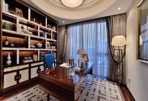 书房灰色窗帘现代风格装饰效果图