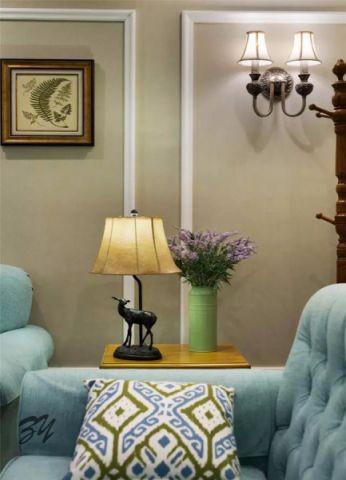 客厅蓝色沙发美式风格装修效果图