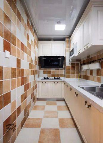 厨房彩色背景墙美式风格装潢效果图