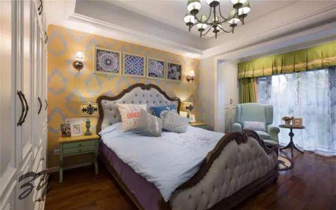 卧室黄色背景墙美式风格装饰图片