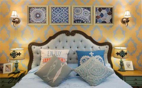 卧室黄色照片墙美式风格装修设计图片