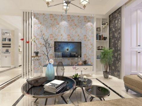 客厅蓝色背景墙混搭风格装修效果图
