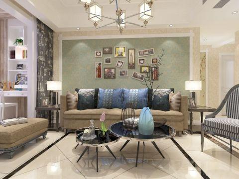 客厅绿色照片墙混搭风格装潢效果图