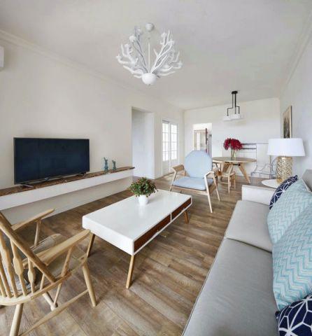 客厅白色吊顶北欧风格装修图片