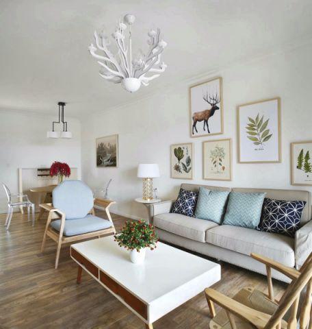 客厅白色照片墙北欧风格装饰图片