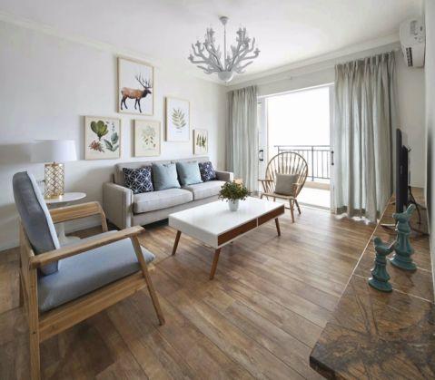 客厅白色窗帘北欧风格装饰设计图片