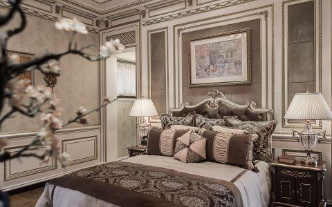 卧室米色背景墙新古典风格装修设计图片