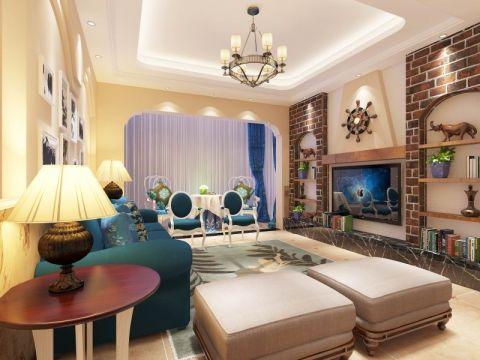 客厅蓝色窗帘田园风格装饰设计图片