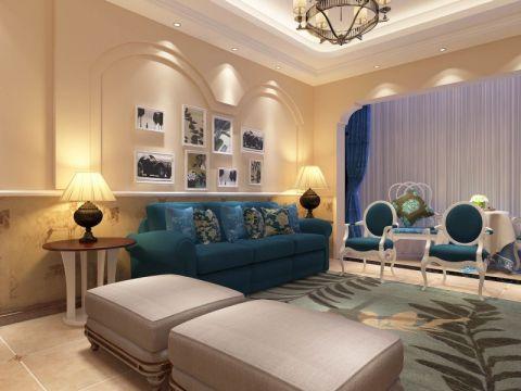 客厅米色照片墙田园风格装潢设计图片