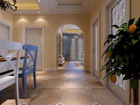餐厅黄色走廊混搭风格装潢效果图