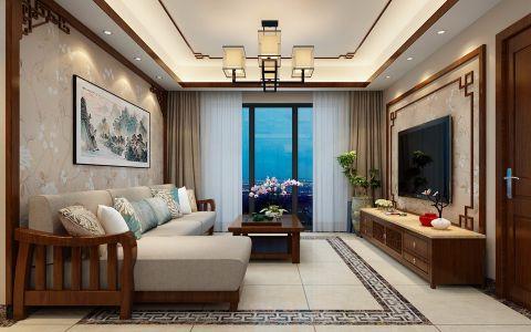 简中式风格113平米三室两厅室内装修效果图