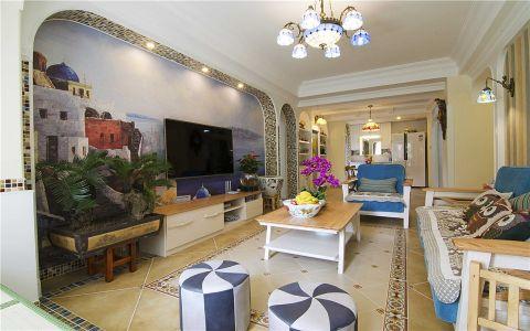 地中海风格110平米套房房子装饰效果图