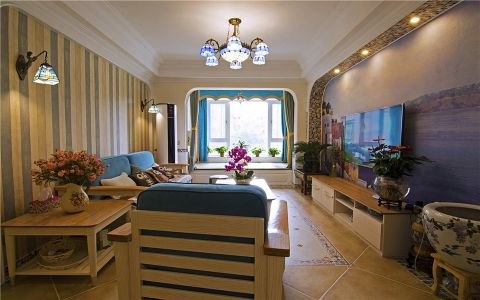 地中海客厅背景墙设计图片