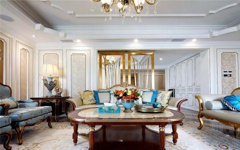 客厅咖啡色茶几法式风格装饰图片