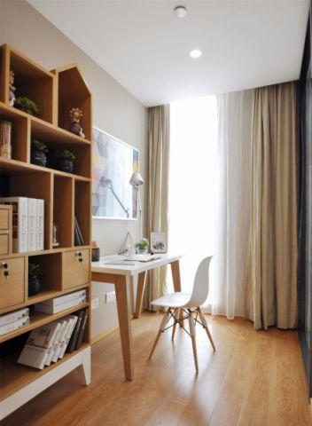 书房米色窗帘现代简约风格装饰效果图