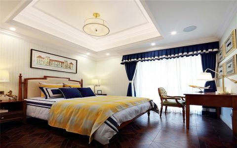卧室蓝色窗帘法式风格装饰效果图