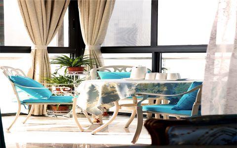 阳台米色窗帘法式风格装饰图片