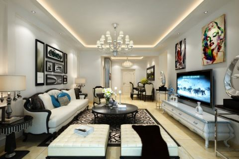 客厅白色照片墙简欧风格装修设计图片