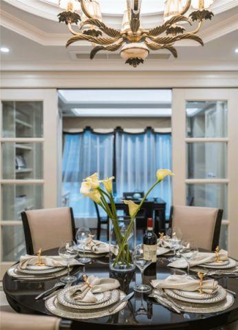 餐厅白色推拉门美式风格装潢图片