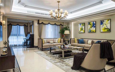 客厅米色背景墙美式风格装饰设计图片