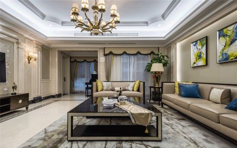 客厅白色吊顶美式风格效果图