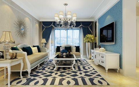 客厅蓝色欧式U乐国际窗帘室内u乐娱乐平台设计