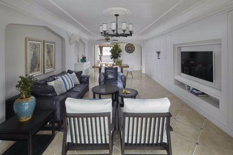 地中海风格134平米三室两厅室内装修效果图