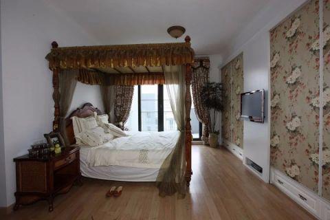 卧室白色吊顶美式风格装潢图片