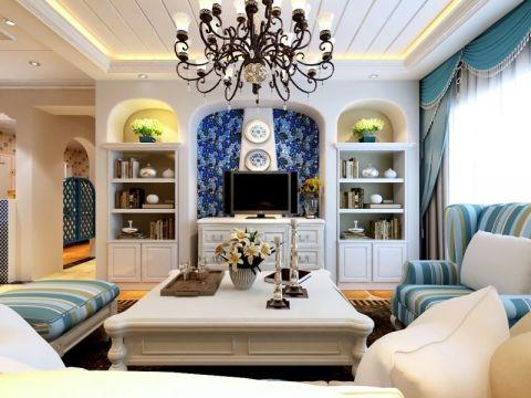 地中海风格100平米三房两厅新房装修效果图
