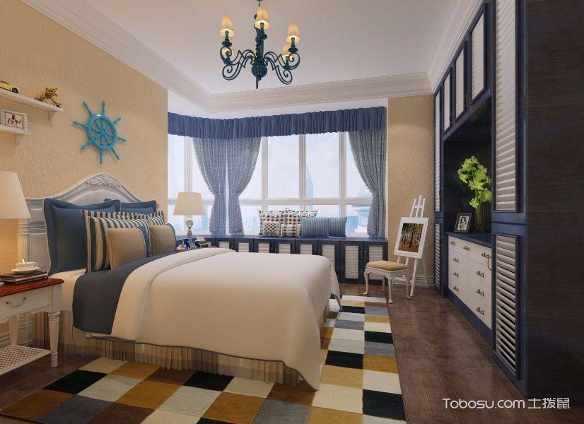 卧室蓝色窗帘地中海风格效果图