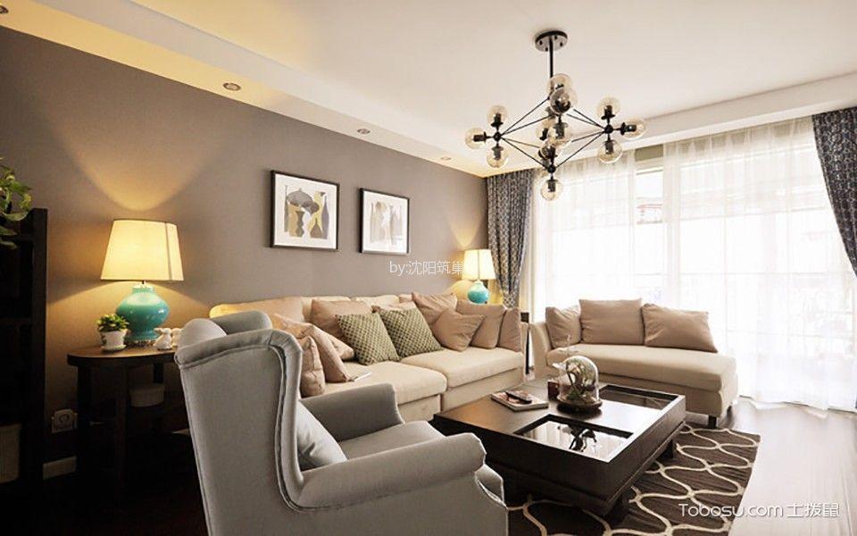 美式风格104平米小户型室内装修效果图