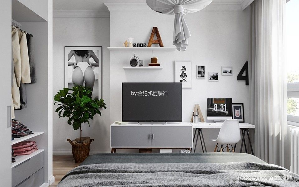 客厅背景墙北欧风格装饰图片
