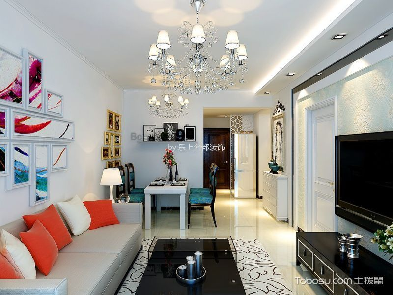 现代简约风格80平米小户型房子装饰效果图