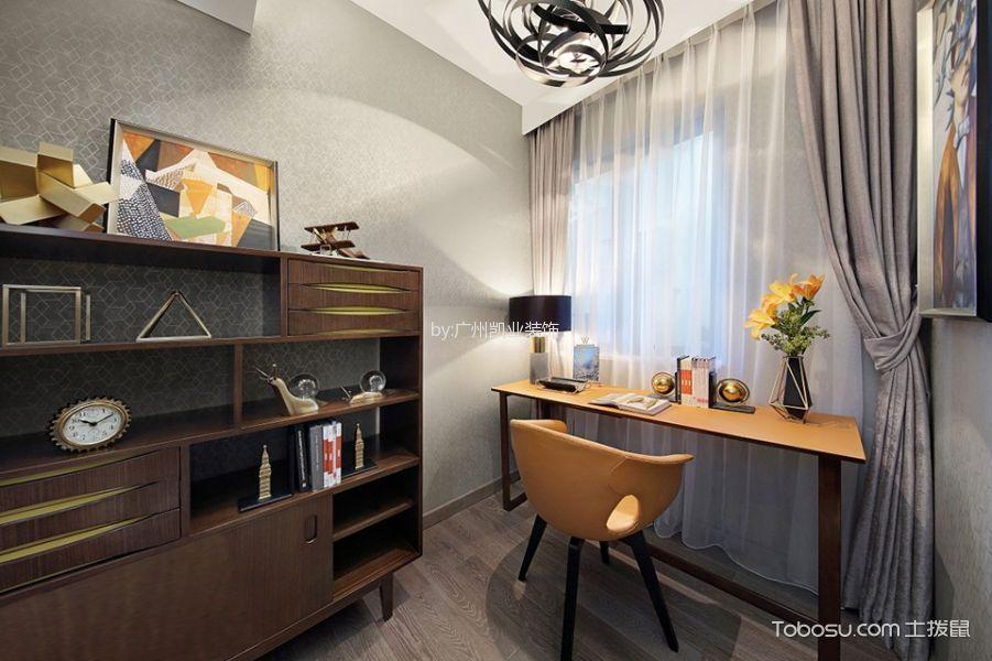 书房白色背景墙混搭风格装潢效果图