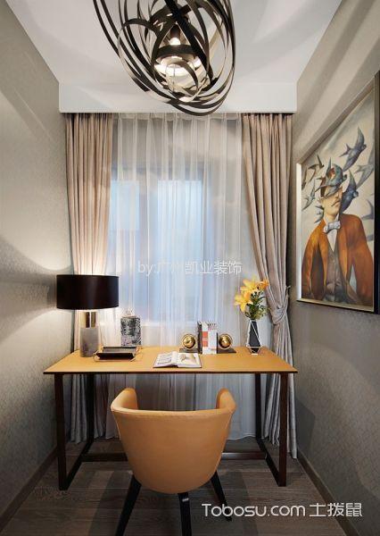 书房米色窗帘混搭风格装修图片