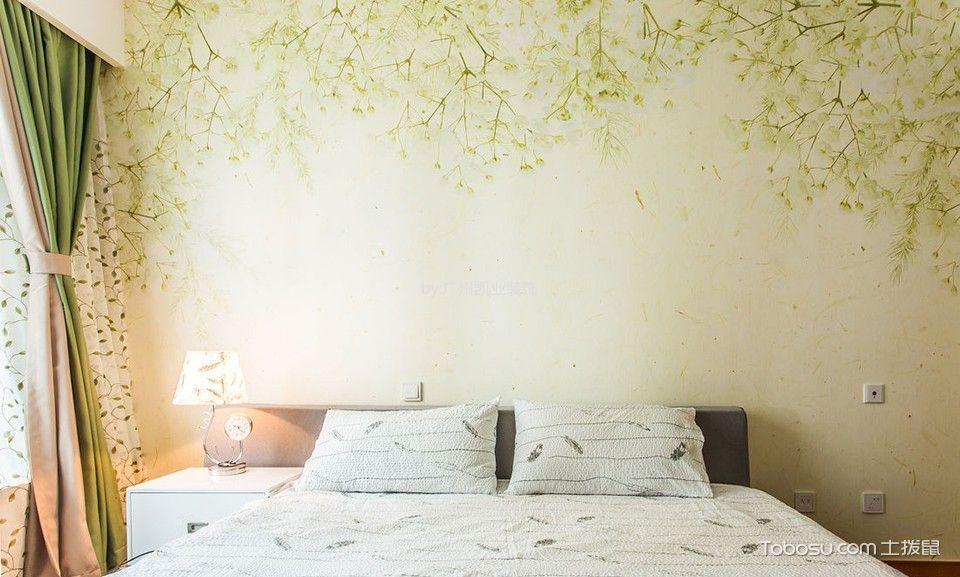 卧室米色背景墙混搭风格装修设计图片