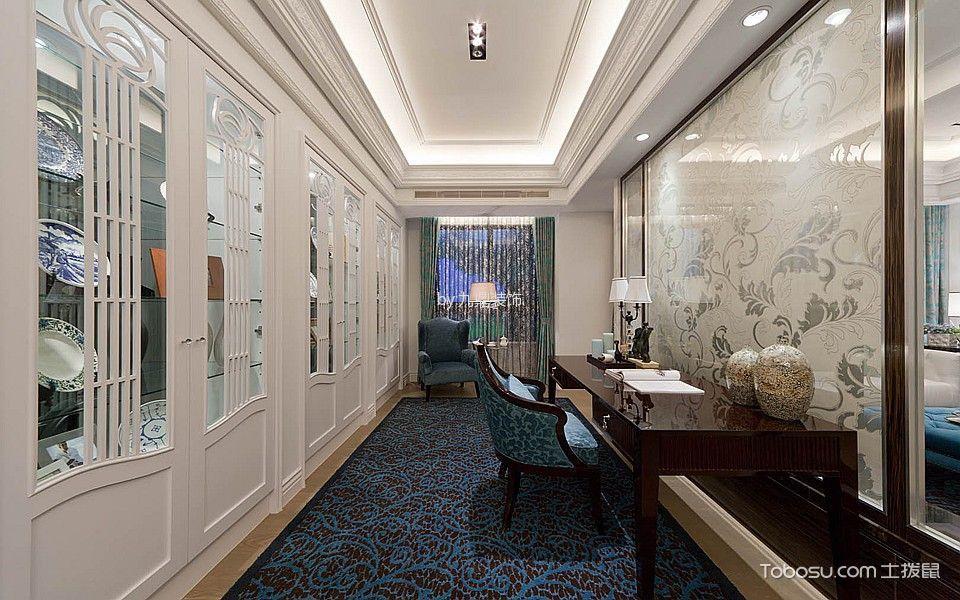 书房绿色窗帘混搭风格装饰设计图片