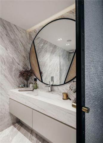 卫生间白色背景墙后现代风格装潢设计图片