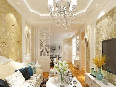 客厅黄色背景墙欧式风格装修图片