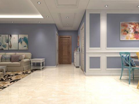 客厅米色走廊美式风格装潢效果图