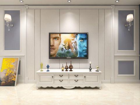 客厅白色背景墙美式风格装修图片